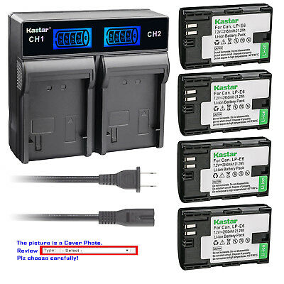 Kastar Battery LCD Rapid Dual Charger for Canon LP-E6 LP-E6N LC-E6 & Canon XC10