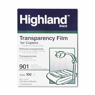 Highland 3M 901 Clear Transparency Film, 8-1/2 x 11 100 Sheets - NEW
