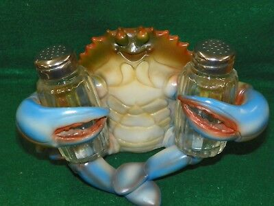 Blue Crab With Glass Salt & Pepper Shakers - New