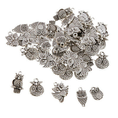50Pc Ancient Silver Owl Charms Pendant Bead DIY Crafts Gift Jewelry Findings