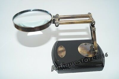 Nautical Brass Adjustable Stand Magnifying Glass Magnifier Vintage Collectible..