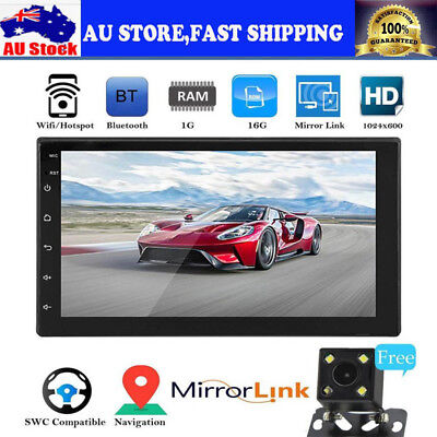 """7"""" Android 8.1 16G Bluetooth Car GPS Navigation Stereo 2-DIN MP5 Player + Camera"""