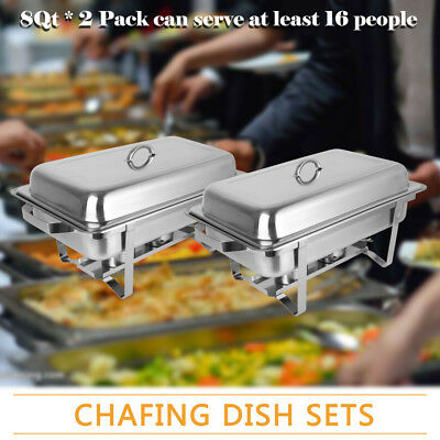 ROVSUN 2Pcs Food Grade Stainless Steel Rectangle Buffet Chafer Furnace 8QT Party