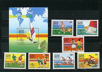 Guinea Bissau 1984 Summer Olympic Games Los Angeles Set Of 7 Stamps & S/s Mnh