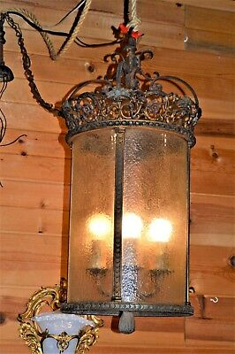 Antique Ornate Victorian Church Hotel Train Depot Canister Light Lamp Chandelier