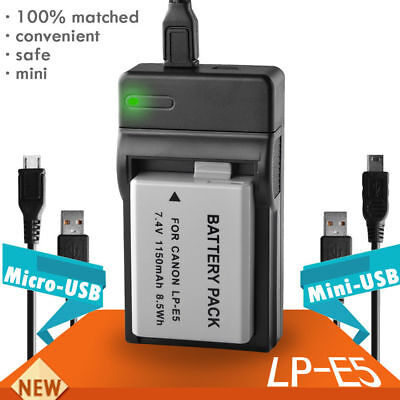 USB Travel Battery Charger For Canon LP-E5 LPE5 EOS 450D 500D 1000D T1i, XS, Xsi