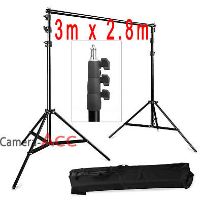 2.8m x 3m Photo Studio Background Backdrop Support Stand Kit + Free Carry Bag