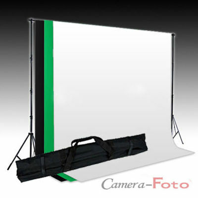 Photography Studio Background Support Stand + 3 Muslin Cotton Backdrops Kit Set