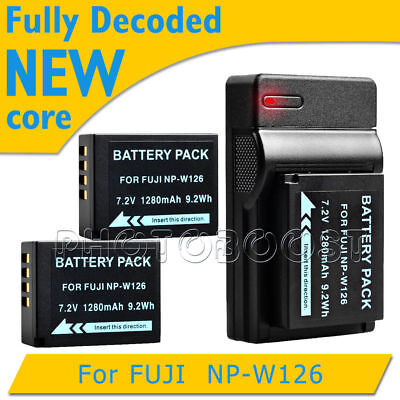 2x 1280mAh Battery + USB Charger NP-W126 NPW126 for Fuji FinePix NEW LOCAL