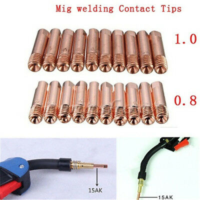 10pcs MB-15AK M6*25mm MIG/MAG Welding Torch Contact Tip Gas Nozzle 0.8/1.0mm~
