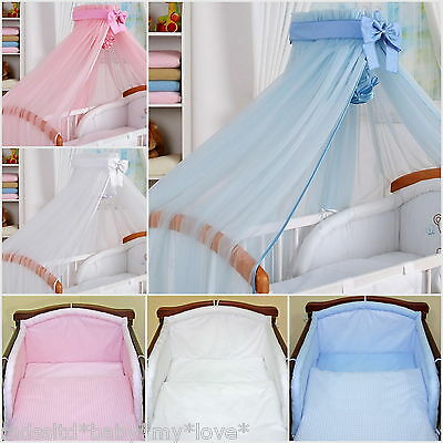 2 to 8 pcs Nursery bedding set/ Canopy Rod Bumper  fit Cot or Cot Bed/Cotbed