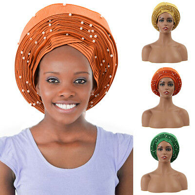 Auto Gele African Women Headtie With Beads Party Headwrap Hat 3 Colors