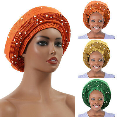 Auto Gele African Women Headtie w/ Beads Party Headwrap Hat Orange Green Golden
