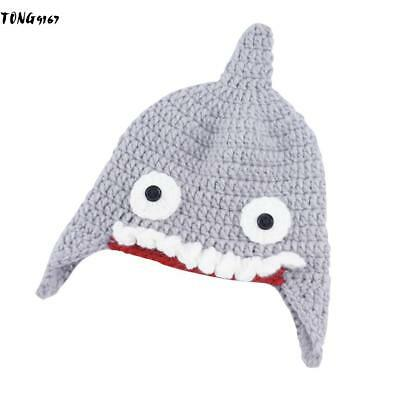 Children Hand-woven Cartoon Animal Shark Hat Wool Warm Halloween Party 9G67