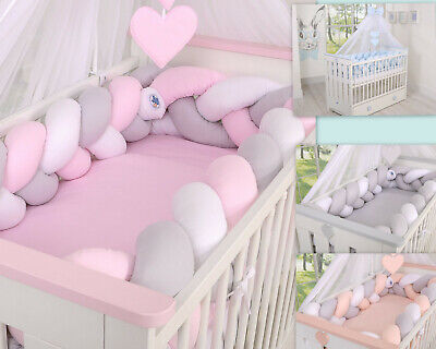 LUXURY BABY BEDDING SET TO FIT BABY COT / BRAIDED ,KNOT BUMPER 360 cm XXL