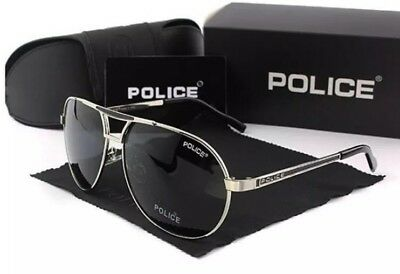 New Silver Police Sunglasses Unisex polarizing glasses with Police Case