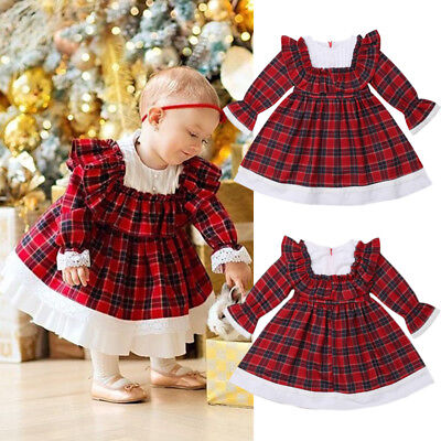 Retro Toddler Kids Baby Girls Xmas Thanksgiving Lace Plaid Party Dress Clothes