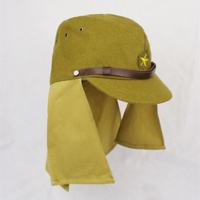 WWII WW2 Japanese Army IJA Soldier Field Wool Cap Hat With Havelock Neck Flap L