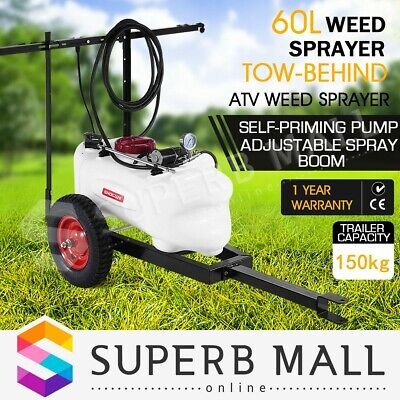 60L ATV Weed Sprayer Chemical Spray Tank Trailer Garden Boom Spot Water Pump