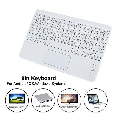 9'' Wireless Bluetooth Keyboard w/ Touchpad Portable For Phone Tablet PC Laptop
