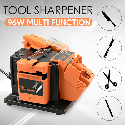 Electric Multi Function Tool Sharpener Drill Bit Knife Scissors Chisel 2 Wheels