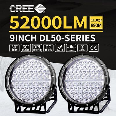 2x 9inch CREE LED Driving Lights Spot Beam Offroad Spotlights Lamp 12V 4WD  H