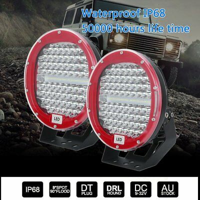 2x 9inch CREE LED Driving Lights Spot Beam Offroad Spotlights Lamp 12V 4WD RED H