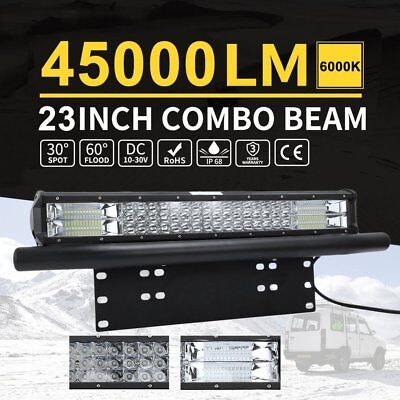 23 Inch Tri-row LED Light Bar Driving Off-road Lights With Number Plate Frame H