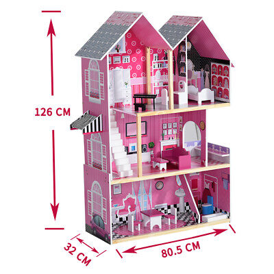 Large Wooden Dolls House W/ Funitures Staircase Barbie Kids Play House Xmas Gift