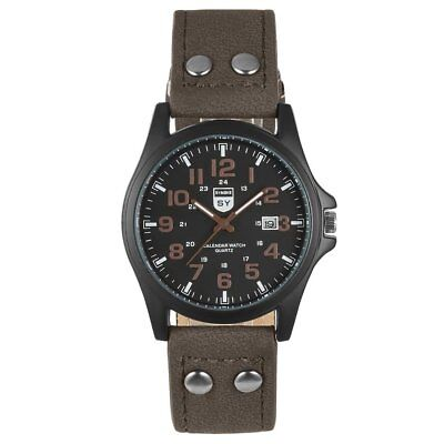 Casual Calendar Leather Band Round Dial Classic Design Men Male AB