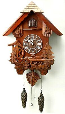 Large Black Forest Design Carved Wooden Cuckoo Clock, Squirrels, Wheel, Trees