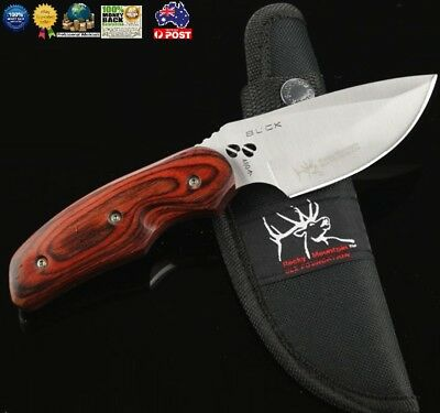 Buck Outdoor Hunting Knife Camping Knife Fixed Blade knife Wood Handle knife