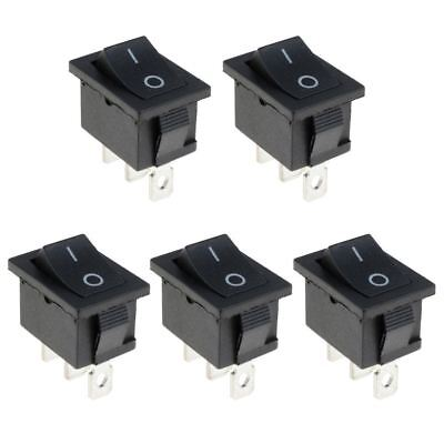 5 x On-On Black Rectangle Rocker Switch SPDT