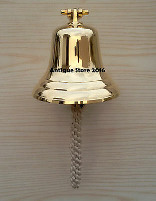 Nautical Brass Wall Mount Bell Anchor Ship Boat Decor Home Decorative Bell