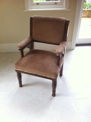 Antique Tudor / Jacobean Style Solid Oak Throne Chair