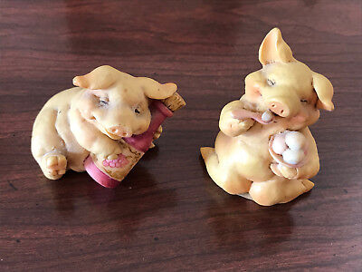Vintage 1992 Pigsville Handcrafted Lot of 2 Adorable Piglets 1302, 1303