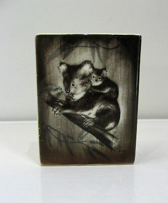 Vintage Studio Anna Pottery - Sydney - Koala - Hand Painted Rectangle Vase