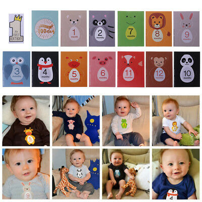 14 Pcs / Set Baby Newborn Photography Record Props Monthly Label Floral Stickers