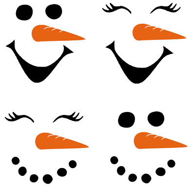 6 / 10 Snowman Snowlady Face Vinyl Decal Sticker Christmas Wine Glass Cup Bauble