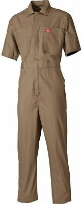 Dickies Short Sleeved Cotton Work Coveralls Khaki (Various Sizes)