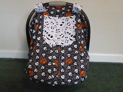 **NIGHTMARE BEFORE CHRISTMAS**Fitted w/peekaboo front Handmade Car Seat Canopy