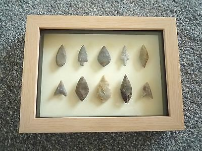 Neolithic Arrowheads in 3D Picture Frame, Authentic Artifacts 4000BC (0788)