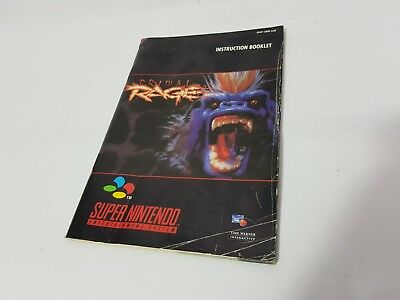 Primal Rage Super Nintendo SNES Replacement Instruction Booklet Manual Only