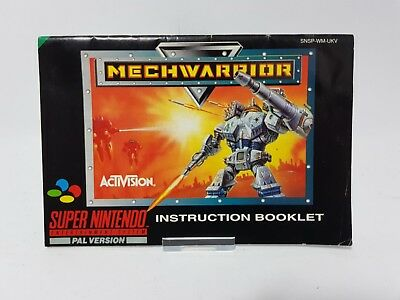 Mechwarrior Super Nintendo SNES Replacement Instruction Booklet Manual Only
