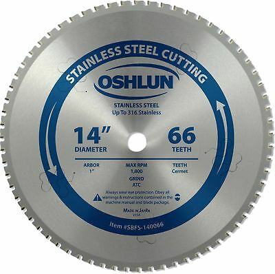 Oshlun SBFS-140066 14-Inch 66 Tooth Saw Blade with 1-Inch Arbor for Stainless...