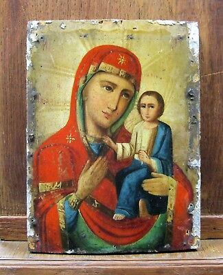 Antique Icon Mother of God of Tikhvin Orthodox Russian Empire Wood 240 x 180 mm