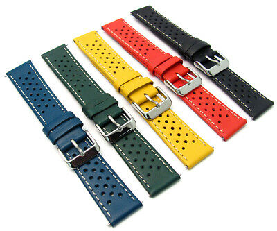 Leather Watch Strap Perforated Retro Racing Style C093 Choose Size & Colour