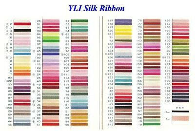YLI Silk Ribbon 4mm x 3m - plain and variegated