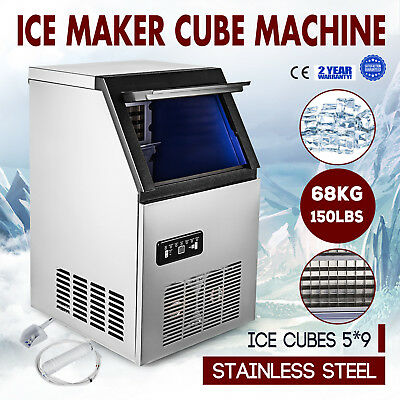 US 150LB Built-In Commercial Ice Maker 68kg 5*9 Cubes Freestand Ice Cube Machine