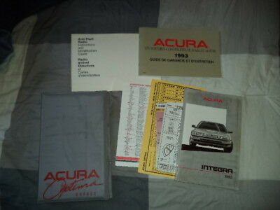 1992 Acura Integra Owner manual kit, French